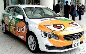 愛媛FCのマスコットキャラクターのラッピングカー